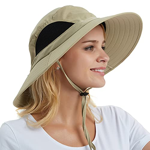 EINSKEY Sun Hat for Men/Women, Summer UV Protection SPF Waterproof Boonie Hat for Fishing Hiking Garden Safari Beach Khaki