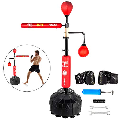 VEVOR 1,2-1,9 m Boxsack Höhenverstellbar Boxsack Stehend Ständer Punching für Training 12 kg Sport, Multifunktional Boxsack Halterung Freistehende mit Geschwindigkeit Ball Boxbirne(Rot)