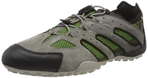 Geox Herren Uomo Snake J Sneaker, Grau (Grey/Dk Green C1314), 47 EU