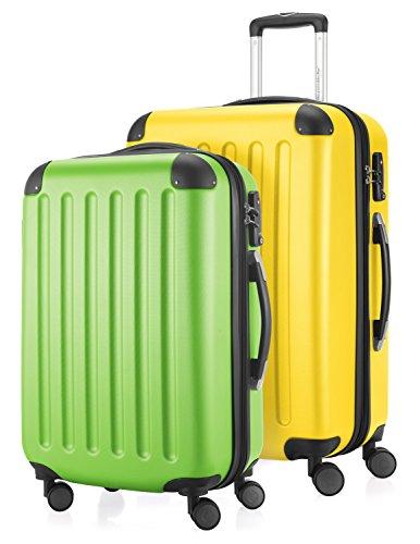 HAUPTSTADTKOFFER - Spree - 2er Koffer-Set Hartschale Matt, TSA, 55 / 65 cm, mit Volumenerweiterung, Apfelgrün-Gelb