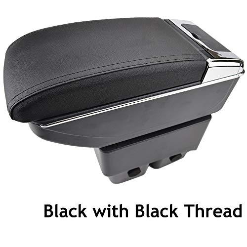 Doppio strato in pelle nera - Bracciolo per console centrale 2009-2017 Fiesta Storage box bracciolo Scatola di immagazzinaggio