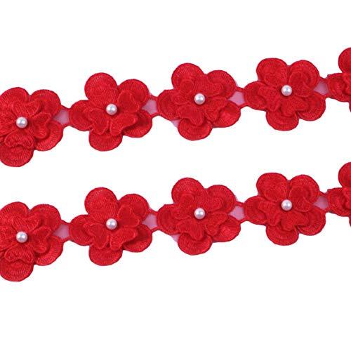 1Yc4181 - Ribete de encaje para bordar flores con cinta de cuentas de 1 yarda, suministros de ropa para bricolaje, accesorios de costura 1065920003
