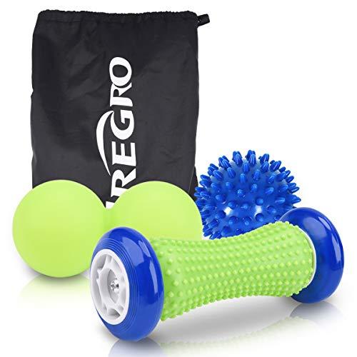 Fußmassage Set, IREGRO Fußroller Igelball Faszienball 3 in 1, Stressreduzierung und Entspannung durch Triggerpunkt-Therapie, Perfekt für Massage von Füßen, Schultern, Armen und dem Rücken
