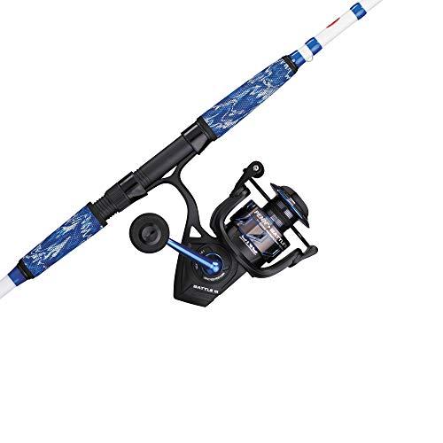 PENN Fishing Battle Spinning Reel and Fishing Rod Combo, black/white/blue, 5000 reel size - 7' - medium heavy - 1pc (BTLIII5000LE701MH)