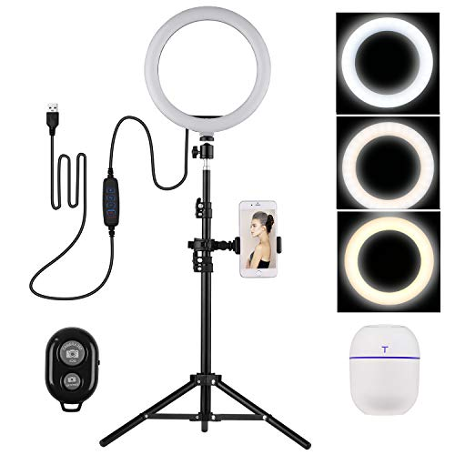 Andoer LED Ring Light 10 Pulgadas, 3200-5600K Selfie Video Ring Light con Soporte para Teléfono Ballhead Light Stand Mini Humidificador para Youtube Video en Vivo Grabación Emisión Selfie Maquillaje