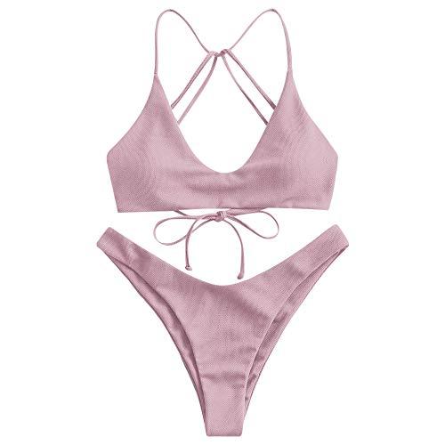 ZAFUL Women's TextuLight Purple Strappy High Waist Bikini High Cut Two Pieces Swimwear Set(Light Purple M)