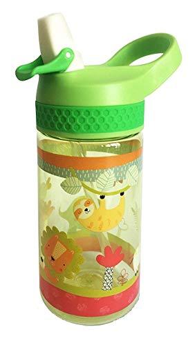 Bottiglia di Tritan Bambini e Neonati  Brocca Riutilizzabile con Sistema Antigoccia 450 ml - Facile Apertura (Pulsante Manuale) - Senza BPA, Uso Quotidiano e Apprendimento Bebè - Materiale Resistente
