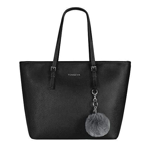 Tom & Eva Damen Handtasche 6228F TE-Jet Set Travel Bag mit Bommel- Anhänger Schwarz Silber