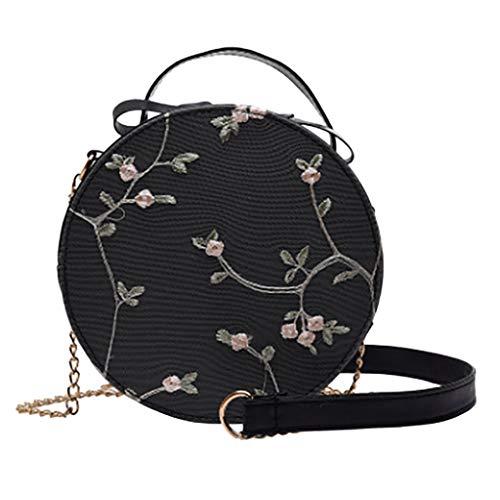 FOANA Damen Handtaschen Schultertasche Runde Spitzentasche (Schwarz, 19cm(L) x6cm(W) x19cm(H))