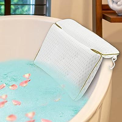Luxury Bath Pillow Bathtub for Women & Men, Powerful Gripping Technology, Ergonomic Bathtub Cushion for Neck, Head & Shoulders