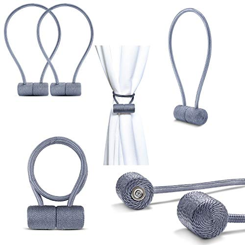 Magnetic Curtain Tiebacks | Curtain Holdbacks for Window | Curtain Clips for Indoor/Outdoor Curtain | Magnetic Tie Backs Hooks for Patio Doors, Showers, Drapes | Stronger Magnets! - Grey (2 Pack)