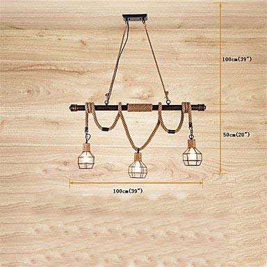 Moderne kroonluchter plafondlampen hanger rustieke metalen waterpijp henneptouw hanglamp woonkamer eetkamer hanglampen 3 Lights bar cafe light bevestiging 3C Ce Fcc Rohs voor woonkamer