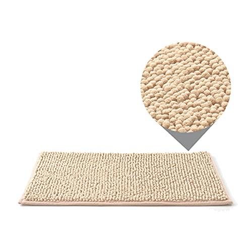 Dalina Textil Alfombra de baño de Chenille - Alfombra de baño Antideslizante y Suave - Alfombra Multiuso para Baño, Lavabo, Cocina, Salón.(40x60cm,Beige)