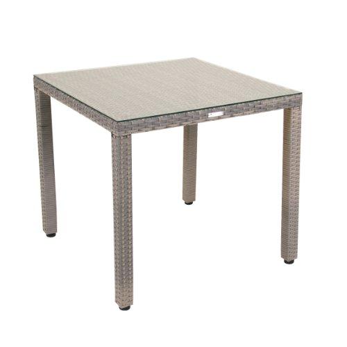 greemotion Table de Jardin Manila 80 x 80 x 74 cm, Table de Terrasse en Résine Tressée Gris avec Plateau en Verre, Table d'Extérieur avec Cadre en Acier, Meuble de Jardin pour 2-3 Personnes
