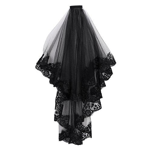 Qchomee Velo de Cosplay, velo nupcial de malla catedral boda dos capas con peine, accesorios para el pelo, accesorio de Halloween, velo de viudo, largo del codo, bruja negro, fotografa