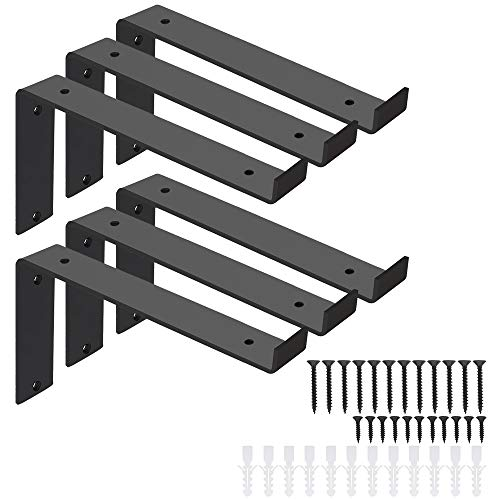 Large Shelf Brackets 10 Inch, Heavy Duty Metal Brackets, Black Brackets with Lip, DIY Floating Shelf with Hardware,6 Pack