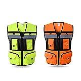 DBL Chaleco reflectante de seguridad amarillo, tira de plata, chaleco amarillo de gran tamaño chalecos de seguridad (Color : Fluorescent red, Size : M)