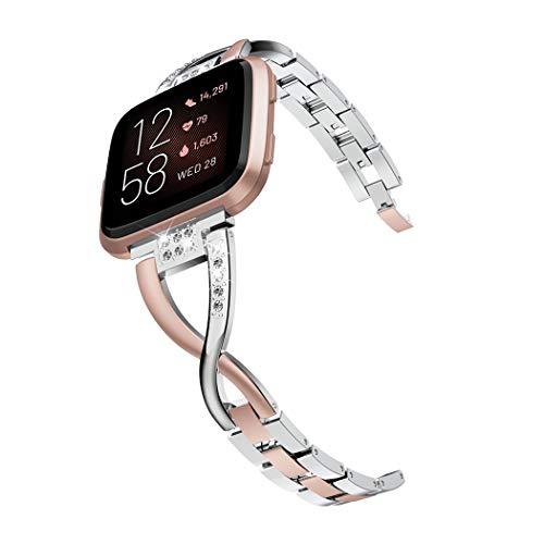 Wearlizer für Fitbit Versa/Fitbit Versa 2 Armband, Metall Ersatzarmband Armbänder Sport Band für Fitbit Versa Lite Special Edition Klein Groß (Silber Versa 2 Kupferrose)