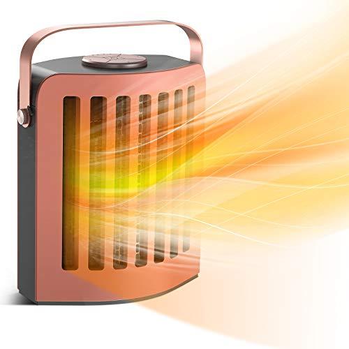 Mini Keramik Heizlüfter 1200W/650W mit automatischer 60° Oszillation - zwei Heizstufen und Überhitzungsund Umkippschutz - energiesparender Betrieb für Ihr zu Hause, Büro, Wohnwagen oder Wintergarten