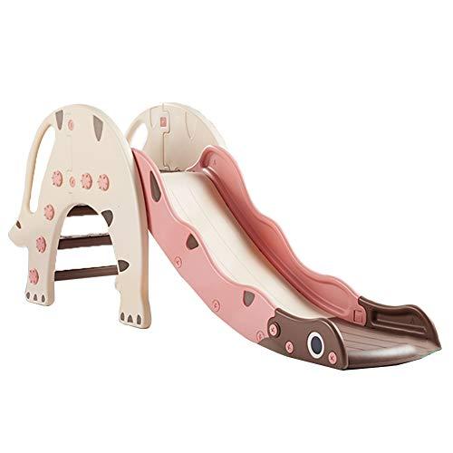 MYRCLMY Juego de juguetes para niños con tobogán de juego de plástico para escalar, apto para niños, equipo de juego de patio trasero con anillo de baloncesto, color rosa