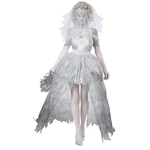 Costume Da Cadavere Per Cimitero Femminile, Costume Da Sposa Spettrale Abito Da Travestimento, Gonna E Velo, Bianco-M