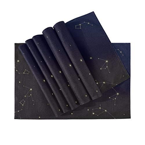 Tischsets 6er-Set, wärmeisolierende waschbare Tischsets, Sternbildkarte Astronomischer Druck Schöne kosmische 18 x 12 Zoll Küchentischmatten Tischset für Esstisch