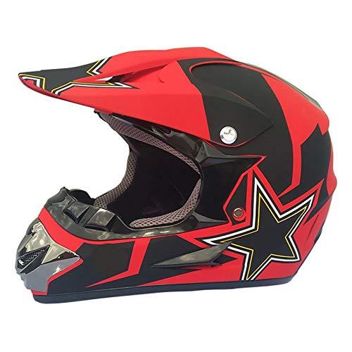 qwert Motocross Helmet, Adult Kids Off Road Cycling Mountain ATV BMX Dirt Bike Crash Full Face Helmet with Goggles/Gloves Set, DOT Certified (S/M/L/XL)