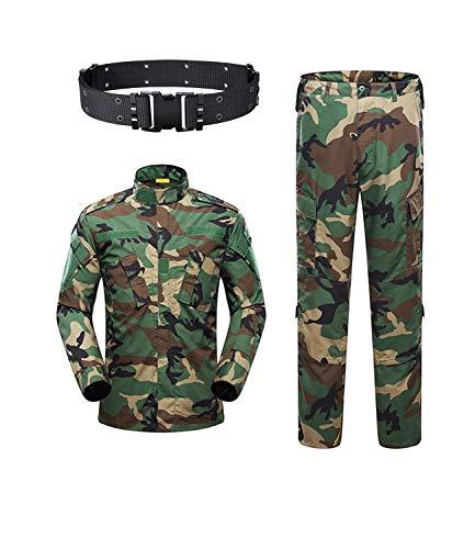 KYhao Traje táctico militar de camuflaje para hombre, caza, combate, BDU, uniforme, camisa y pantalones con cinturón para disparar, caza, juego de guerra, ejército, airsoft, paintball