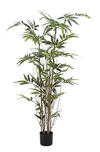 Línea Déco | Bambú 3 Troncos naturales + 336 hojas artificiales, maceta negra | 150 cm | Planta verde artificial | zen japonés | Decoración de interior | casa oficina