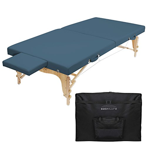 Saloniture Portable Physical Therapy Massage Table - Low to Ground Stretching Treatment Mat Platform - Blue
