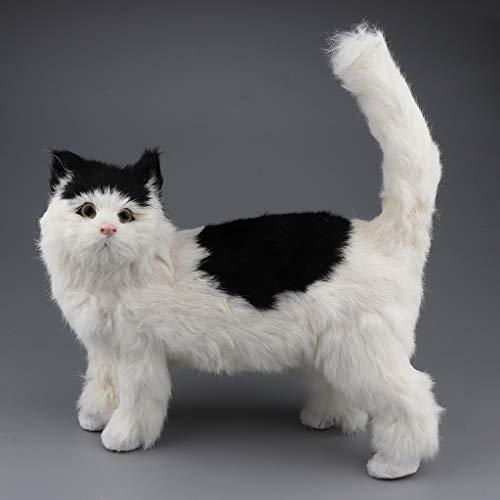 kesoto Plüschtier Katze Simulation Plüsch Katze Kuscheltiere Modell Spielzeug für Kinder, 5 Farben zur Auswahl - Schwarz + Weiß