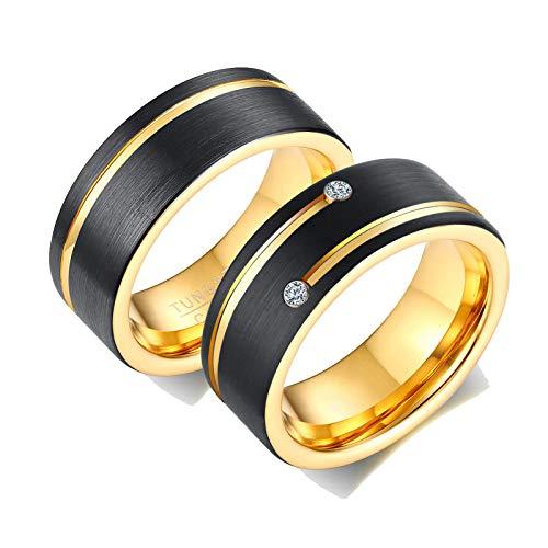 Aeici Verlobungsringe mit Gravur Wolfram Ring Paar Schwarz Gold Ring Aus Gebürstetem Zirkonia Schwarz Gold Frau 65 (20.7) + Mann 65 (20.7)