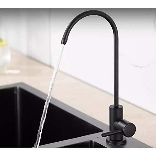 GJEFEGS Grifo de Filtro de Agua Potable Negro Mate, Grifo de Acero Inoxidable 304 RO, Sistema de purificación, ósmosis inversa, Robinet, Cocina, torneira
