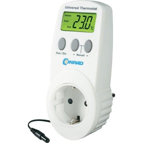Conrad UT-200, elektronisches Universalthermostat mit Zwischenstecker, für Heiz- und Kühlbetrieb (-40 bis 99 °C) geeignet.
