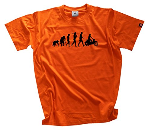 Shirtzshop Herren Standard Edition DDR Moped Motorroller Scooter Evolution T-Shirt XXXL, Orange