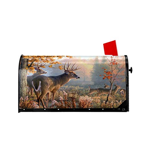 Foruidea Autumn Nature Wildlife Animal Deers Hunting Mailbox Covers Magnetic Mailbox Wraps Post Letter Box Cover Standard Oversize 21 X 18 Mailwrap Garden Home Decor