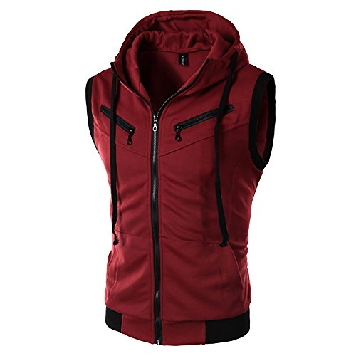 Why Choose FiMi Mens Casual Slim Fit Zip-up Hoodie Vest Lightweight Sleeveless Hooded Wine Red