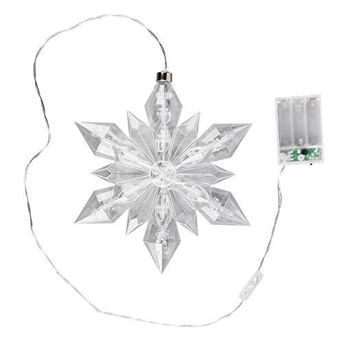 LED-Eiskristall | Stern | 23 x 20 cm | 25 LED-Lämpchen | warmweiß | indoor | transparent, klar | mit Timer-Funktion (6 Stunden AN | 18 Stunden AUS) | Fenster-Deko zu Weihnachten