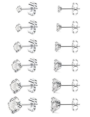 JeweBella 6 Pares Pendientes Acero Inoxidable para Mujeres Niñas Hombres Brillantes Circoniña Pendientes Antialérgicos Joyería 3-8mm