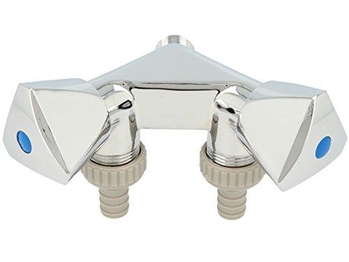Doppelventil Geräteventil mit 2 Abgängen Wandmontage 1/2