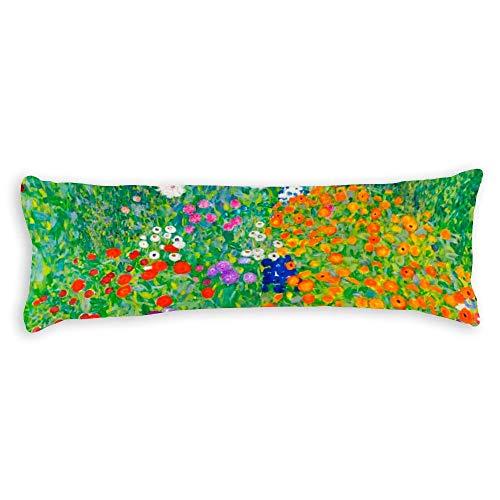 Throw Pillow Cases Body Pillow Covers Body Pillowcases With Zipper Closure For Home Decor 20 X 54 Inch,Flower Garden Gustav Klimt