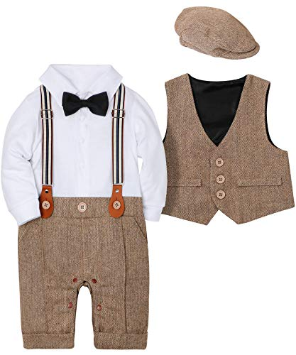WESIDOM Baby Boy Suit Outfits Set 3pcs,Infant Tuxedo Long Sleeve Gentleman Wedding Jumpsuit & Vest Coat & Beret Hat Brown
