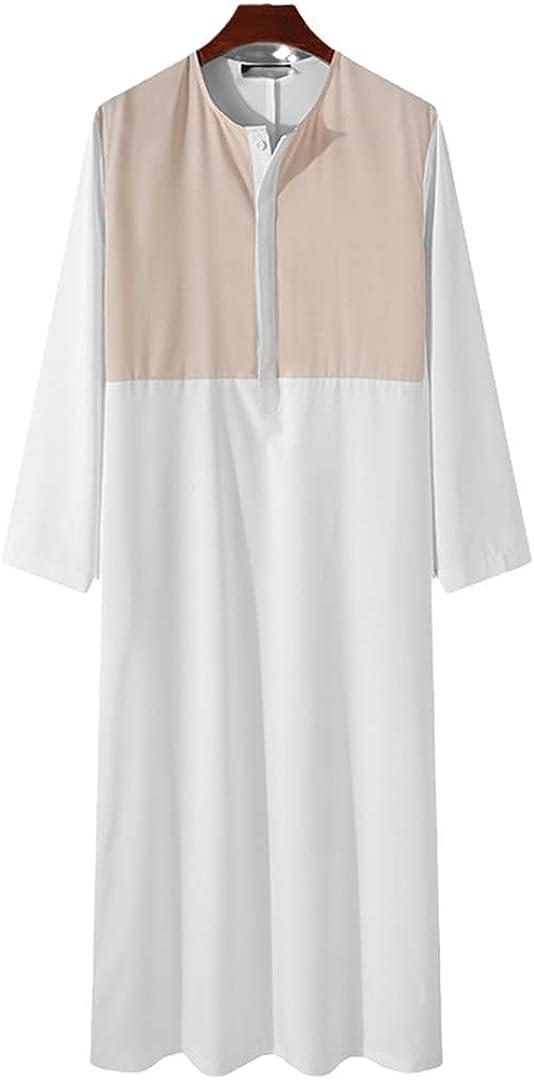 Eyastvgnf Muslim Men Patchwork Button Long Sleeve Robes Islamic Arabic Kaftan Dubai Abaya Men Clothes