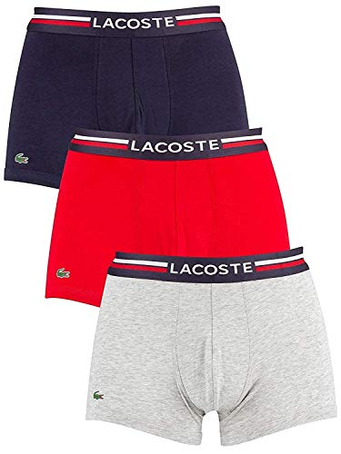 Lacoste Herren Boxershorts 3er Pack - Colours, Baumwoll Stretch, Marine/Rot/Grau S (Small)