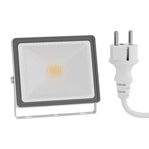 ledscom.de LED Außen-Strahler FLIN, Scheinwerfer, IP66 wasserfest, mit Stecker weiß 10W 800lm warm-weiß