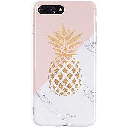 3C Collection Coque Iphone 7 Plus Marbre, Coque Iphone 8 Plus Ananas, Coque Rose Géométrique Doux IMD Marbre pour Iphone 7 Plus et Iphone 8 Plus Coque ...
