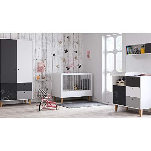 Chambre complète lit bébé 60x120 - commode à langer - armoire 2 portes Concept - Noir