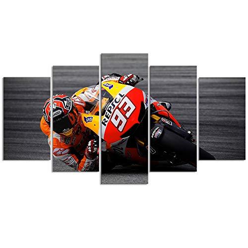 MotoGP Canvas Schilderijen Wall Art Repsol Honda Team Rider 93 Marc Marquez Poster voor Home Decoratie 5 Panel met Frame Klaar om op te hangen
