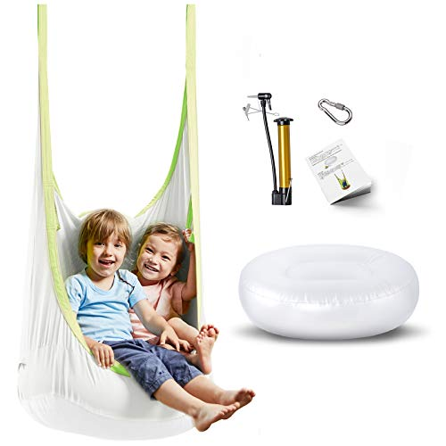 happypie Frog Hanging Pod Swing Seat Indoor and Outdoor Hammock for Children to Adult 100% Cotton - white