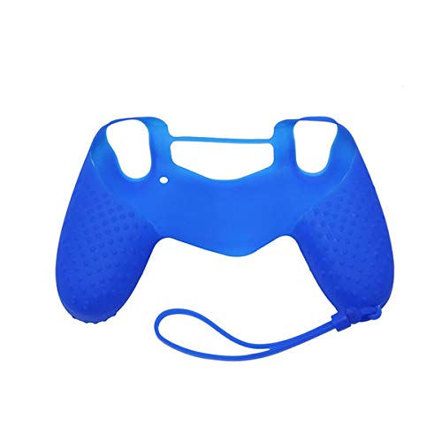 Siliconen beschermhoes, beschermhoes met handband voor PS4-controller (kleur: blauw)